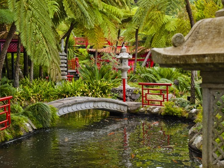 pagoda: views of tropical gardens in Monte Palace, Funchal, Madeira