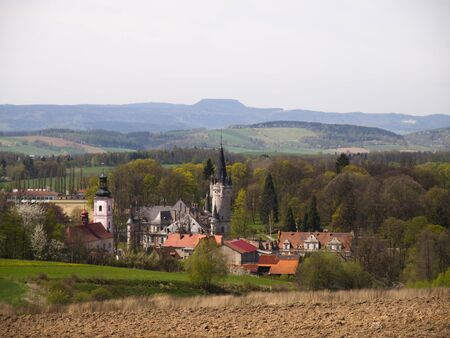 sudeten: view of the palace of table mountains in the background, idols, Poland, Europe
