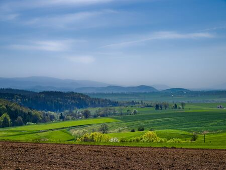 sudeten: view of the Sudeten mountains in early spring Stock Photo