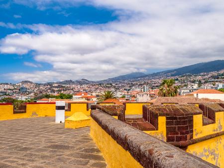 View of old castle Fortaleza de Sao Tiago in Funchal, Madeira, Portugal Stock Photo