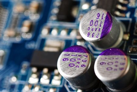 printed circuit board closeup Stock Photo