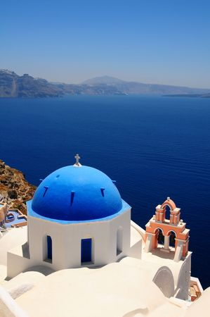pano: Cupolas from Santorini, Greece