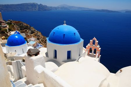 santorini greece: Cupolas from Santorini, Greece