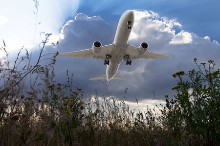 White passenger plane flies in the blue cloudy sky. Aircraft flying over the green grass field. Airplane bottom view.