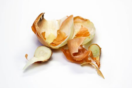 Food waste onion on a white background. Isolate. Close up. Waste for recycling. Responsible disposal of household food wastage in an environmentally friendly way by recycling.