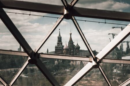 View of St. Basil's Cathedral from the amphitheater with a glass roof in Zaryadye Park in Moscow. Landmarks Of Russia.