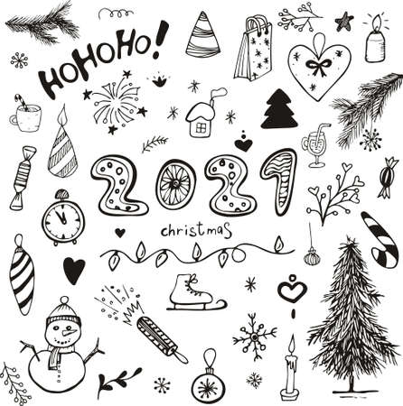 Set hand-drawn sketch of Christmas toys, snowman, snowflakes, Christmas tree, gifts, fireworks. Vector Christmas elements. Painted Christmas toys. Illusztráció