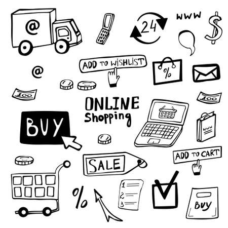 Online shopping doodle set hand drawn. Online shopping vector collection of icons. Drawn symbols shop online.