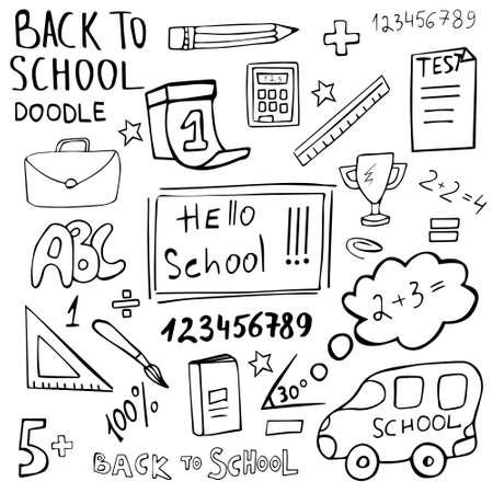 Hello school doodle set hand drawn. Back to School vector icon collection. Drawn symbols are school items. 矢量图像
