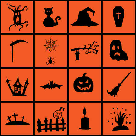 Halloween doodle set hand drawn. Halloween vector collection of holiday symbols. Pumpkin, grave, ghost, horror, fear and other drawn vector Halloween elements.