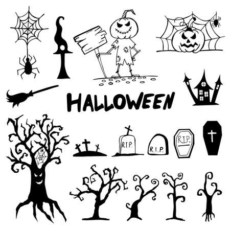 Halloween doodle set hand drawn. Halloween vector collection of holiday symbols. Pumpkin, graves, ghosts, horror, fear and other drawn vector Halloween elements.