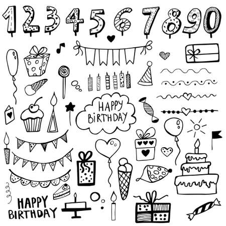 Birthday doodle set hand drawn. Drawn birthday symbols. Party vector background. Collection of birthday icons.