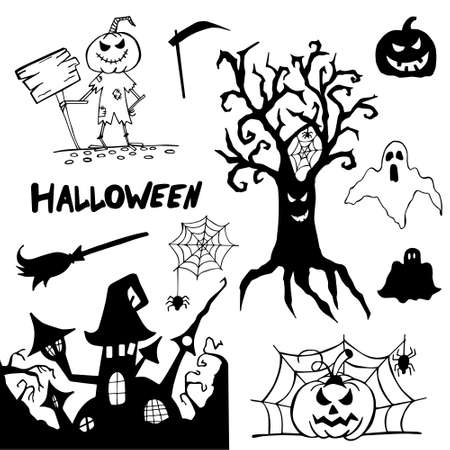 Halloween doodle set hand drawn. Halloween vector collection of holiday symbols. Pumpkin, grave, ghost, horror, fear and other drawn vector Halloween elements. Copy space. 矢量图像