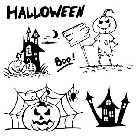 Halloween doodle set hand drawn. Halloween vector collection of holiday symbols. Pumpkin, grave, ghost, horror, fear and other drawn vector Halloween elements.Copy space. 矢量图像