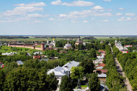 Panorama of the city of Suzdal in summer, top view. Beautiful landscape of the city of Suzdal in Russia.