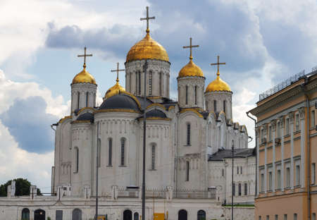 Russia, Vladimir, June 2021: Assumption Cathedral in Vladimir. Assumption Cathedral in cloudy weather.