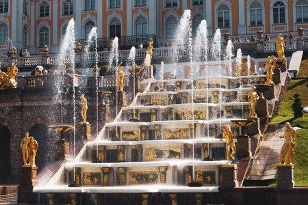 Saint-Petersburg, Russia, July 2021: Grand Cascade Fountain in Peterhof.