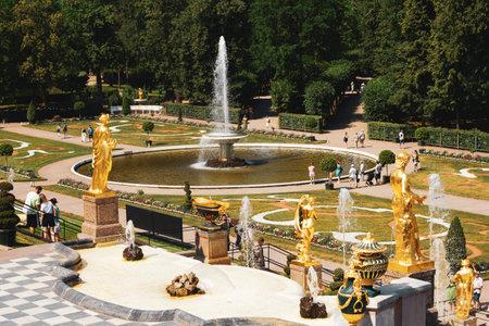 Saint-Petersburg, Russia, July 2021: View of the Eastern Bowl Fountain in Peterhof. 新闻类图片