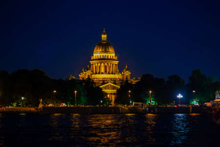 Neva and St. Isaac's Cathedral at night.night city of Saint Petersburg.
