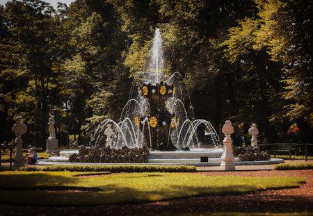 Saint Petersburg, Russia, July 2021: Crown Fountain in the Summer Garden of St. Petersburg. 新闻类图片