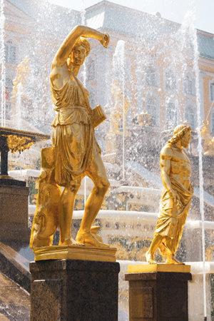 Saint Petersburg, Russia, July 2021: Golden statue of the Amazon in Peterhof.