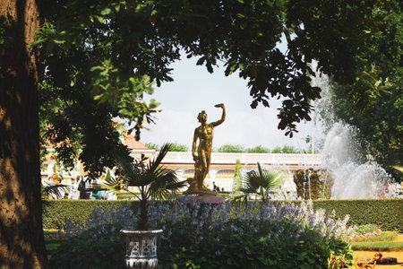 Saint Petersburg, Russia, July 2021: Bacchus Fountain in Peterhof near the Monplaisir Palace 新闻类图片