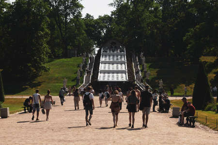 Saint Petersburg, Russia, July 2021: Chess Mountain Fountain in Peterhof. 新闻类图片