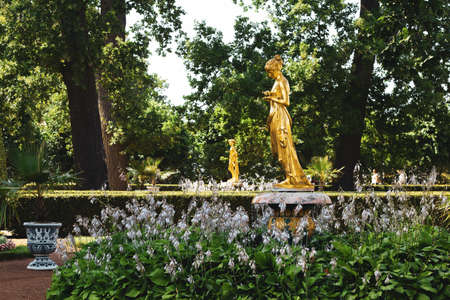 Saint Petersburg, Russia, July 2021: Psyche Fountain in Peterhof near the Monplaisir Palace 新闻类图片