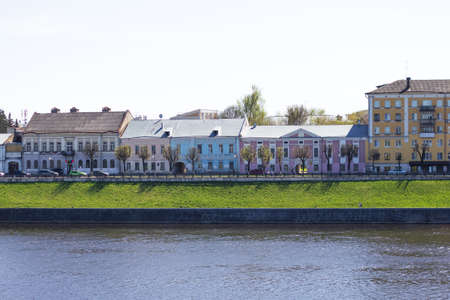 TVER, Russia, May 2021: View of the Stepan Razin Embankment on the Volga river in Tver. Old buildings on the embankment of Stepan Razin on the Volga River.
