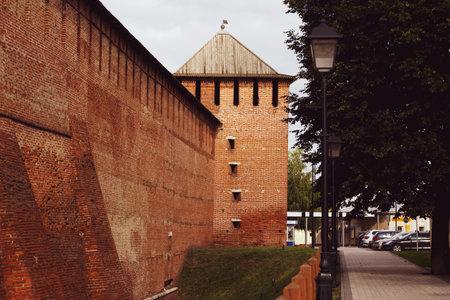 Russia, Kolomna, August 2020: Brick wall of the Kremlin in Kolomna 新闻类图片