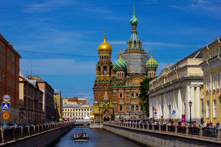 St. Petersburg, Russia, July 2021: Church of the Savior on Spilled Blood in St. Petersburg. 新闻类图片