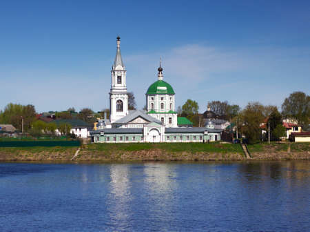 Tver, Russia, May 2021: St. Catherine's Convent in Tver. Monastery on the Volga river in Tver. View from the embankment of the Catherine Monastery in Tver. 新闻类图片