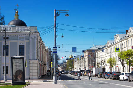 Tver, Russia, May 2021: Sovetskaya Street in Tver. View of the Imperial Travel Palace and the Church of the Transfiguration of the Savior in Tver.