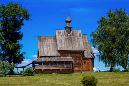Russia, Suzdal, June 2021: Wooden St. Nicholas church 新闻类图片