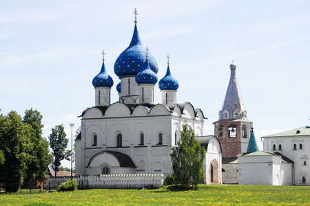 Russia, Suzdal, June 2021: Mother of God-Nativity Cathedral in the Suzdal Kremlin.