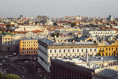 Saint Petersburg city view from above. View from the colonnade of St. Isaac's Cathedral in St. Petersburg. Panorama of St. Petersburg.