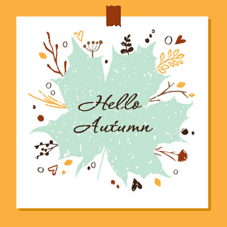 Vector illustration Hello autumn. Vector botanical elements and a colorful autumn illustration drawn by hands. Round floral decorative elements for design. Eps 10.