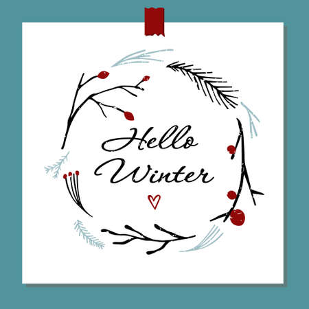 Vector illustration Hello winter. Vector botanical elements on the theme of winter flora. Round floral decorative element for design. Eps 10. 矢量图像