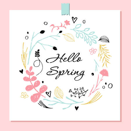 Hello spring vector illustration. Vector botanical elements and delicate pink and blue flowers. Round floral decorative element for design. Eps 10.