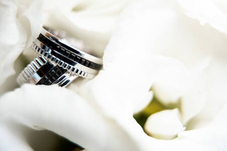 Important details of the wedding day. Precious white gold wedding rings with black accents on flower petals. Close up picture Imagens