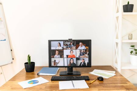 Online meeting, video call, video conference. App for video connection on pc in office, web shots of several people on the screen