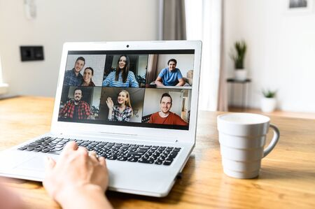Using zoom app for distance video communication with coworkers, friends. People profiles on laptop desktop. Online meeting, webinars