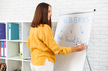 Female teacher conducts webinars, classes or school lessons. A young woman in smart casual wear is writing on flip chart with a marker pen. Online studying concept 免版税图像