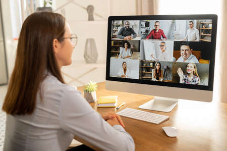 Video meeting with diverse group of people Stock Photo