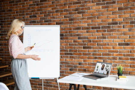Businesswoman showing on interactive whiteboard options for increasing sales,showing how sales have increased using graphics,online meeting with boss,distance work,satisfied with the results