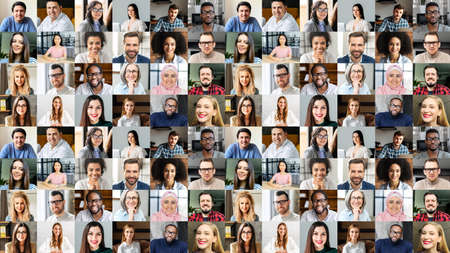 Video conference concept. Banner, screensaver, collage with a lot of diverse people, multiracial colleagues brainstorming on the distance, a lot of people different generation and nation. Hr database