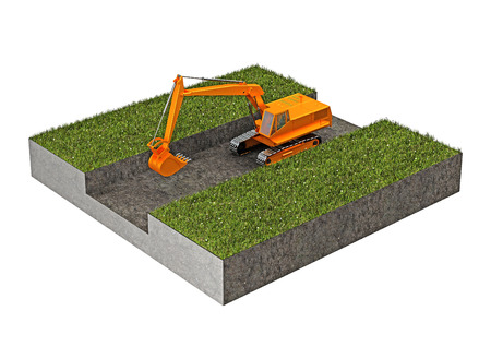 trench: excavator digging a trench