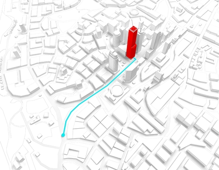 trajectory: the trajectory of the route in a big city. 3d rendering