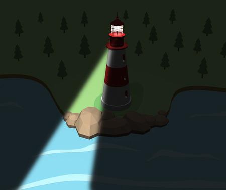 lighthouse at night: Lighthouse on the coast in the night. 3d illustration. cartoon