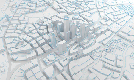 featureless: White low poly city views from above. 3d rendering Stock Photo